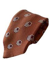 Ermenegildo Zegna Mens Silk Tie Burnt Brown Cubes