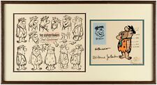 FRED GLADSTONE / FLINTSTONE Ltd Ed MODEL SHEET & CEL FRAMED HAND SIGNED w SKETCH