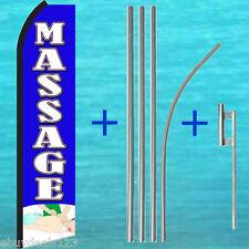 Massage Blue Swooper Flag + Pole Mount Kit Tall Flutter Feather Banner Sign