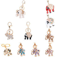 LN_ Rhinestone Keyring Charm Pendant Bag Purse Car Key Chain Ring Elephant Key