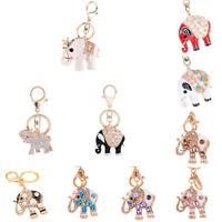 Rhinestone Keyring Charm Pendant Bag Purse Car Key Chain Ring Elephant Keyfob
