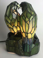 """Tiffany Style Love Birds 11"""" Stained Glass Light Accent Lamp Parrots"""