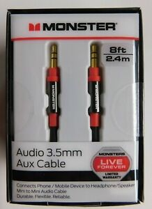 Monster 8-FT 2.4 M AUDIO 3.5 MM AUX CABLE Gold Contacts HD Audio