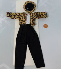 New 4Pc Hand Sewn Cheetah Hat Jacket Shirt Pants Outfit Clothes For Barbie Doll
