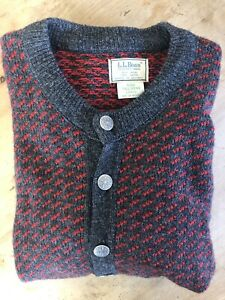 Vintage LL Bean Norwegian Fisherman Sweater Red Button Front Cardigan Mens Large