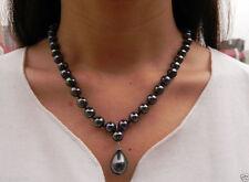 "Elegant 8mm Black South Sea Shell Pearl Drop Pendant Necklace 18"" AAA+"