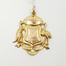 9ct Yellow Gold Australiana Rugby League Coat Of Arms Shield Pendant #53692