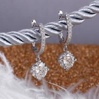 2.50Ct Round Unique Cut VVS1/D Diamond Drop/Dangle Earring 14K White Gold Finish