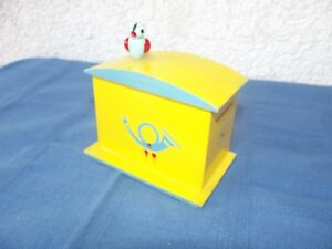 Wood Letter Box with Bird As Children Piggy Bank Money Box Probably Erzgebirge