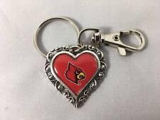 New University of Louisville KEYCHAIN Heart UofL Clip Cardinal NCAA Key Chain