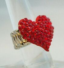 """Red Crystal Heart Ring Valentine 1.25"""" Stretch Band Cocktail  One Size Gift"""