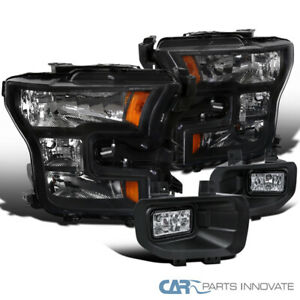 2015-2017 Ford F150 Pickup Black Driving Headlights+Clear Bumper Fog Lamps Pair