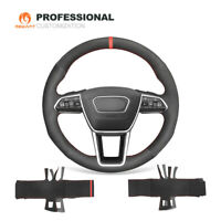 Black Suede Steering Wheel Cover for Audi A6 (Avant) A6 Allroad A7 (Sportback)