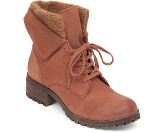 LUCKY BRAND HUNTRESS lace up log sole KNIT cuff  folder suede boots 40 10 M