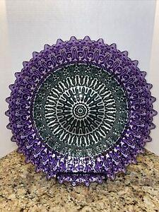 "LARGE 16"" Round Glass Platter Purple & Green Metallic Reverse Painted Boho Style"