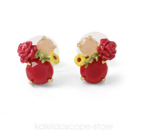 French Fashion Jewellery nereides  RED ROSE WITH RED STONE STUD EARRING