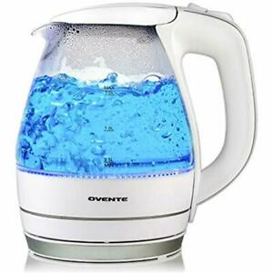 Ovente Electric Kettles Kettle, 1.5L, 1100W, BPA-Free, Heat-Tempered Glass, Auto