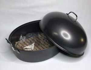 """Non Stick Oval Roasting Pan Large 15""""x 19""""x 5"""" With Lid 11"""" Tall"""