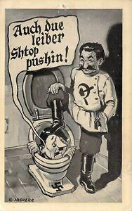 "....Shtop Pushin"" Stalin Pushing Hitler Down Into Toilet WW2 Propaganda Postcard"