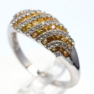 NATURAL HEATED YELLOW SAPPHIRE & WHITE CZ 925 STERLING SILVER RING SZ 6.75