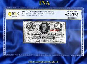 CONFEDERATE STATES of America 1863 50-cents T-63 1st series Civil War PCGS 62PPQ