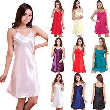 Hot Women Ladies Satin Nightdress Chemise Babydoll Sleepwear Mini Dress Lingerie