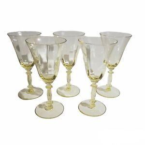 "Cambridge Gold Krystol 3130 URANIUM Glow 7 1/4"" Tall Water Wine Goblet Glass Vtg"