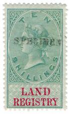 (I.B) QV Revenue : Land Registry 10/- (1873) specimen