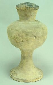 """! 206 B.C.– 20 A.D. HAN DYNASTY China Ritual Covered Vessel Earthenware 11"""""""