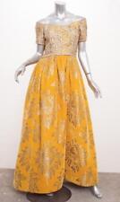 VINTAGE Womens Ochre Gold Velvet Embroidered Floral Off-Shoulder Gown Dress XS