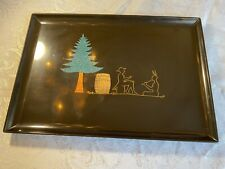 Couroc Tray of California Missionary Teaches Music to Indian Motif, Vintage Mcm