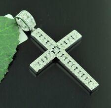 14k Solid White gold Natural Diamond Cross pendant 1.00 ct channel set