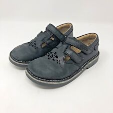 Clarks 12.5 W Girls Shoes Black Leather Star Beam Youth Mary Janes School Saddle