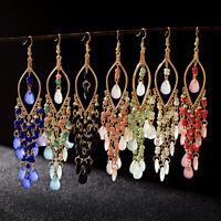 Charm Women's Handmade Resin Beads Gemstone Drop Earrings Bohemian Hook Earrings