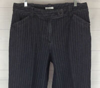 Dressbarn Womens Plus Size 14W Stretch Black Striped Straight Leg Trouser Jeans