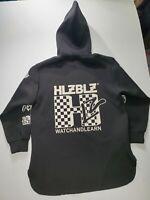 Hellz Bellz Neoprene Black Hoodie Sweater HLZ MTV Logo Women's Size Medium