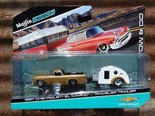Maisto Tow & Go 1967 El Camino & Travel Trailer 1:64 Scale Diecast Car w/ Camper