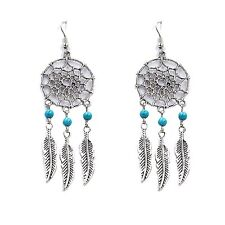 Fashion Vintage Dangling Feather Filigree Tribal Dreamcatcher Drop Earring 1pair