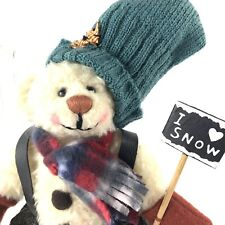 "Cottage Collectibles Ganz Plush 7"" Bear I Love Snow Lorraine 1999 Scarf Overalls"