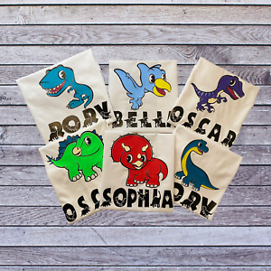 Personalised Dinosaur Baby and Toddler T-Shirts. 6 Cute Dinosaurs to Choose From