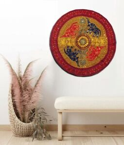 """32"""" KHAKI ELEPHANT TRIBAL HOME DÉCOR GUJRATI EMBROIDERY WALL HANGING TAPESTRY"""