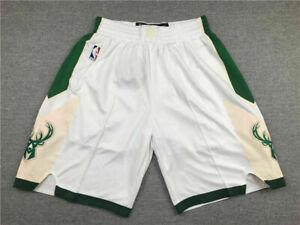 Hot sale Milwaukee Bucks White Men's Basketball Shorts Size: S-XXL