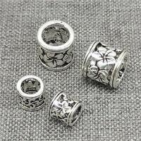 925 Sterling Silver Daisy Flower Tube Beads Bracelet Spacer