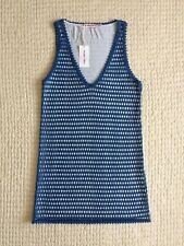 NWT~See by Cloé~Crochet Dress~Size IT 40~US 4~Made in Italy~Blue~SleevelessLined