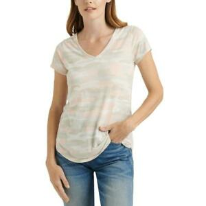Lucky Brand Womens Beige Camouflage V-Neck Tee T-Shirt Top XS BHFO 4768