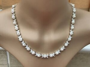 Jon Richard Silver Plated Cubic Zirconia & Pearl Decorative Necklace Approx 16in