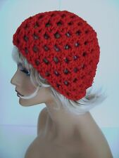 RED SEQUIN OPEN WEAVE BEANIE HAT BERET TAM CAP TAM CLOCHE HAND CROCHET