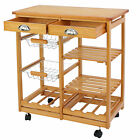 Rolling Wood Kitchen Island Trolley Cart Dining Storage Drawers Stand Durable