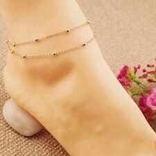 Chic Women Gold Delicate Bead Double Chain Adjustable Ankle Leg Bracelet Anklet