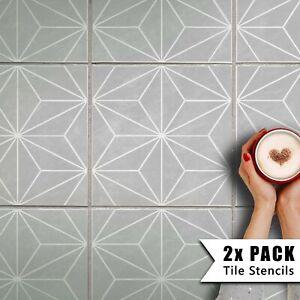 2x Tile Stencils - Bathroom Kitchen Wall Floor Tiles & Patio Slabs - Kasai